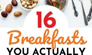 """Pin collage of healthy breakfast foods, fruits, eggs, avocados, granola etc. Text Overlay reads """"16 Breakfasts You Actually Have Time For!"""""""