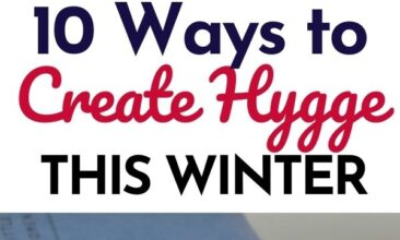 "Pinterest Pin, first image is of 2 mugs in front of a fire, second image is of a stack of old books. Text Overlay reads ""10 Ways to Create Hygge this Winter."""