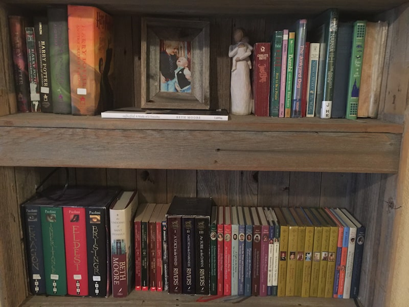 Fiction shelves, full of my favorites.