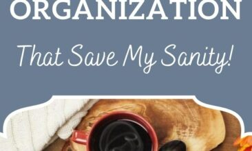 "Pinterest pin with two images. One image is of a spiral notebook on a desk. Text overlay says, ""3 Family Organization Hacks that save my sanity!"""