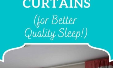 """Pinterest pin, image is of a window with sheer curtains and light coming in. Text overlay says, """"No-Sew DIY Light-Blocking Curtains: for better quality sleep!"""""""