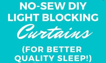 """Pinterest pin with two images. One image is of a window with sheer curtains and light coming in. Second image is of striped light-blocking curtains. Text overlay says, """"No-Sew DIY Light-Blocking Curtains: for better quality sleep!"""""""