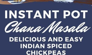 """Pinterest Pin with two images. One image is of a white bowl filled with Chana Masala. Second image is of over a dozen small bowls filled with herbs and spices. Text overlay says, """"Instant Pot Chana Masala: Indian Spiced Chickpeas""""."""