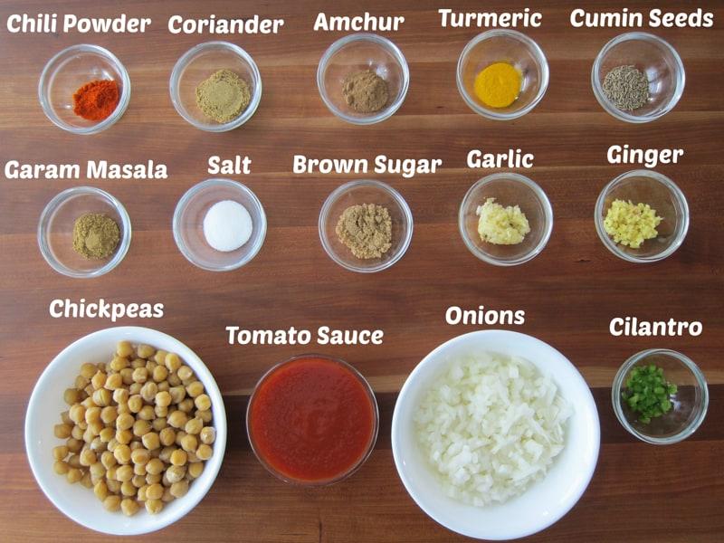 Instant Pot Chana Masala Ingredients