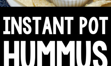 """Pinterest pin with two images, the first image is a plate of chips with a bowl of hummus in the middle. The second image is a bowl of hummus with garlic, chickpeas and other ingredients sitting on a table. Text overlay says, """"Instant Pot Hummus: Gluten & Dairy Free!""""."""