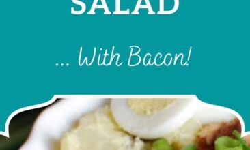"""Pinterest pin, image is of a bowl filled with potato salad, crumbled bacon and chives. Text overlay says, """"Amazing Instant Pot Potato Salad: with bacon!"""""""