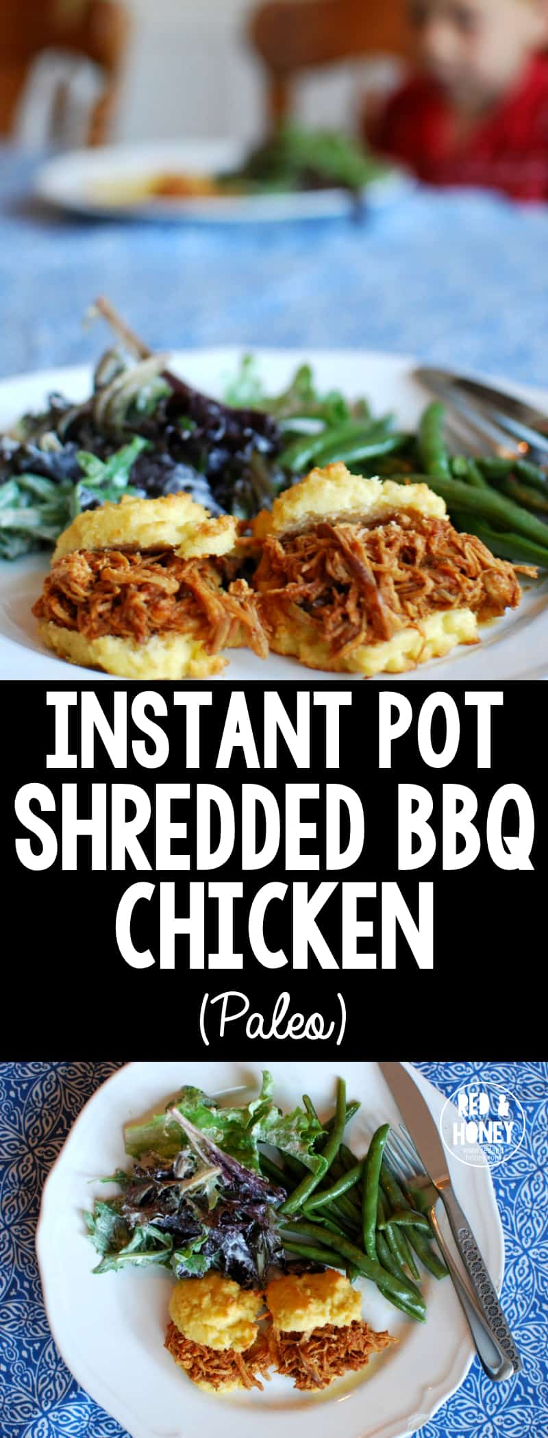 Instant Pot Shredded BBQ Chicken - quick and delicious with clean ingredients!