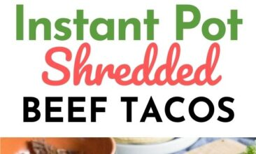 """Pinterest pin with two images. Both images are of a white plate with a corn tortilla filled with beef taco filling. Text overlay says, """"Instant Pot Shredded Beef Tacos: just 3 ingredients!"""""""
