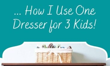 """Pinterest pin, image is of a dresser. Text overlay says, """"Minimalist Kid Wardrobes: plus how to save space!"""""""