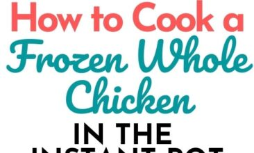 """Pinterest pin with two images. Top image is of an instant pot with a frozen chicken sitting on a plate in front of it. Bottom image is of a whole cooked chicken on a platter. Text overlay says, """"How to cook a whole frozen chicken... in the Instant Pot!"""""""