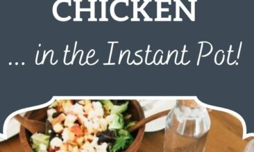 "Pinterest pin, image is of a whole cooked chicken on a platter. Text overlay says, ""How to cook a whole frozen chicken... in the Instant Pot!"""