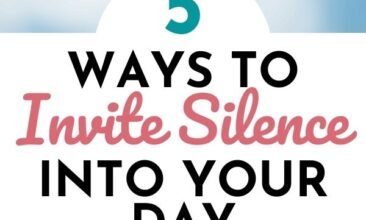 "Pinterest pin with two images. One image is of a woman giving a child a piggy back ride. Second image is of a branch of cherry blossoms in bloom. Text overlay says, ""5 Ways to Invite Silence into Your Day: ...and find calm!"""