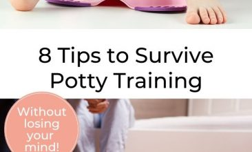"""Pinterest pin collage, first image is of a potty with a child sitting on it, the second is of a potty sitting in a bathroom and 2 adults sitting on the edge of the bath in the background. Text Overlay reads """"8 Tips to Survive Potty Training Your Kid Without Losing Your Mind"""""""