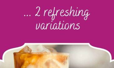 """Pinterest pin, image is of an iced cup of coffee in a tall glass. Text overlay says, """"Floral-infused iced coffee: refreshing recipe!"""""""