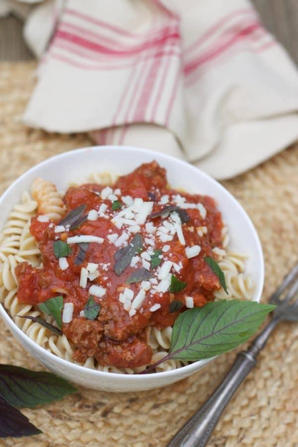 Instant Pot Italian Meat Sauce- www.redandhoney.com