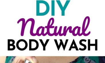 "Pinterest pin with two images. One image is of a woman holding a bottle of soap, pumping it onto her other hand. Second image is of a bottle of DIY body wash on the edge of a bathtub. Text overlay says, ""DIY Natural Body Wash Recipe: super simple!"""