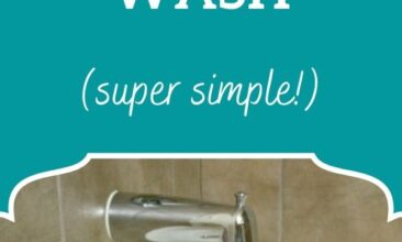 "Pinterest pin, image is of a bottle of DIY body wash on the edge of a bathtub. Text overlay says, ""DIY Natural Body Wash Recipe: super simple!"""