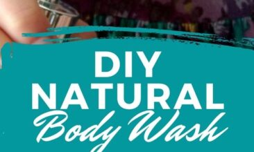 "Pinterest pin, image is of a woman holding a bottle of soap, pumping it onto her other hand. Text overlay says, ""DIY Natural Body Wash Recipe: super simple!"""