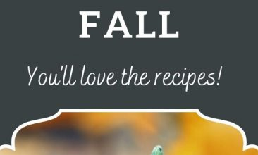 """Pumpkins and fall leaves sit on a wood deck. Text above reads """"10 Things About Fall... You'll love the recipes!"""""""