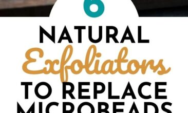 """Pinterest pin with two images. One image is of an orange, cut in half. Second image is of two hands with a handful of coffee beans. Text overlay says, """"6 Natural Exfolaitors to Replace Microbeads: for softer skin!"""""""