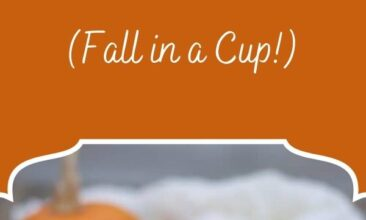 """Pinterest pin image of a mug filled with pumpkin spice latte. Text overlay says, """"Paleo Pumpkin Spice Latte: it's fall in a cup!"""""""