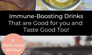 """Pinterest pin collage of immune boosting drinks, a steaming mug, lemons in a cup, a jar of honey with a dipper resting nearby. Text overlay reads """"Immune Boosting Drinks That are Good for You and Taste Good Too!"""""""