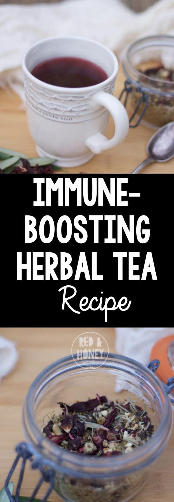 This immune-boosting tea blend is quick to whip up when you have the herbs on hand, and tastes great too!
