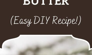 "Pinterest pin, image is of a mason jar filled with body butter and tied with a bow. Text overlay says, ""Cocoa peppermint whipped body butter: easy DIY recipe!"""