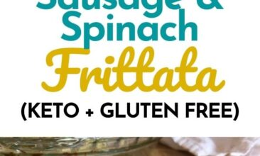 """Pinterest pin with two images. Both images are of a sausage and spinach frittata on a white plate. Text overlay says, """"Sausage Spinach Frittata Recipe: keto & gluten free!"""""""