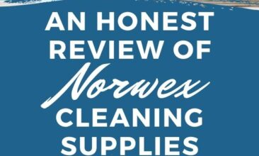 """Pinterest pin with two images. One image is of a woman cleaning her table with a norwex cloth. Second image is of a dirty shower. Text overlay says, """"An honest review of norwex, an unbiased opinion""""."""
