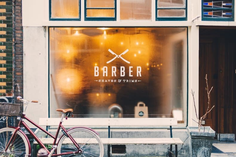 barber shop window pictured as a gift idea suggestion for dads