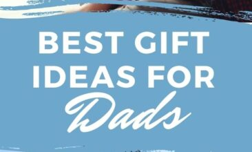 "Pinterest pin with two images. The first is of a daughter sitting in her dad's lap giving him a kiss on the cheek. The second is of a dad and son walking hand in hand on the beach. Text overlay says, ""Best Gift Ideas for Dads - show your love""."