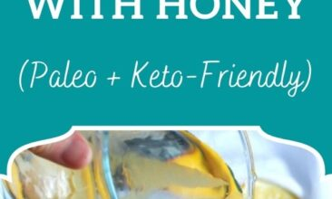 """Pinterest pin image is of a pitcher of lemonade being poured into a glass. Text overlay says, """"Homemade Lemonade Sweetened with Honey: + paleo & keto options""""!"""""""
