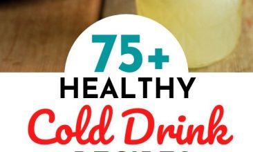 "Pinterest pin collage of cold summer drinks, lemonade in a mason jar, ice coffee in a glass with cream that has just been poured in. Text Overlay reads ""75+ Healthy Cold Drink Recipes: No Refined Sugar!"""