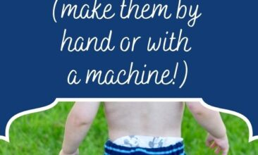 "Graphic with text above an image of a baby in upcycled sweater pants. Text reads ""Easy 30-Minute Upcycled Baby Sweater Pants (Make by Hand or Machine!)"""
