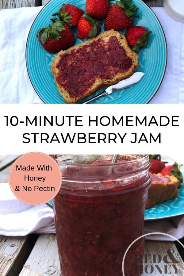 collage image of homemade strawberry jam on bread, and in a jar, with text overlay
