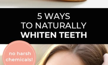 """Longer Pinterest pin with two images. First image is of a toothbrush with charcoal toothpaste. Second image is of a woman smiling with bright white teeth. Text overlay says, """"5 Ways to Naturally Whiten Teeth - no harsh chemicals!"""""""