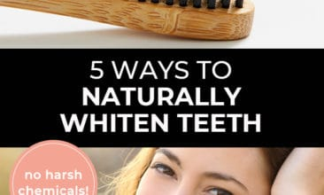 """Pinterest pin with two images. First image is of a toothbrush with charcoal toothpaste. Second image is of a woman smiling with bright white teeth. Text overlay says, """"5 Ways to Naturally Whiten Teeth - no harsh chemicals!"""""""