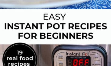 """Longer Pinterest pin with two images. First image is of pulled pork sandwiches on a plate. The second image is of an instant pot with ingredients on a counter. Text overlay says, """"Easy Instant Pot Recipes for Beginners - 19 real food recipes""""."""
