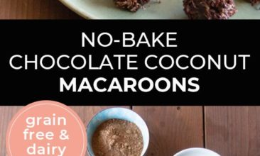 "Longer Pinterest pin with two images. First image is a plate of chocolate macaroons. Second image is of ingredients in bowls. Text overlay says, ""No-Bake Chocolate Coconut Macaroons - grain free & dairy free!""."