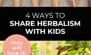"""Longer Pinterest pin with two images. Top image is of 6 large wooden spoons filled with dried herbs. Bottom image is of fresh herbs piled on a table with a chalkboard sign that says """"Herb Garden"""". Text overlay says, """"4 Ways to Share Herbalism with Kids: they will love it!"""""""