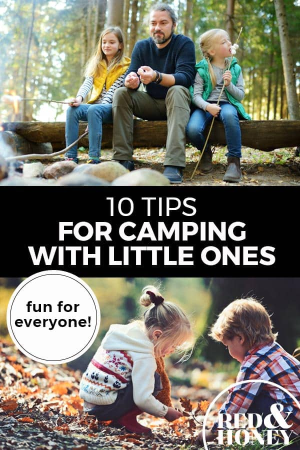 """Pinterest pin with two images. Top image is of a dad sitting on a log with his two kids in the woods. Bottom image is of two little kids playing in the outdoors. Text overlay says, """"10 Tips for Camping with Little Ones: fun for everyone!"""""""