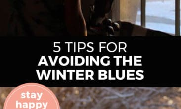 """Longer Pinterest pin with two images. Top image is of a woman looking out the window at a wintery scene. Bottom image is of a woman bundled up for winter out in the snow. Text overlay says, """"5 Tips for Avoiding the Winter Blues: stay happy this winter!"""""""