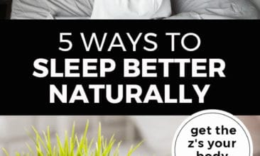 """Longer Pinterest pin with two images. Top image is of a woman waking up stretching with arms over head. Bottom image is of an alarm clock sitting on a bedside table. Text overlay says, 5 Ways to Sleep Better Naturally: get the z's your body needs!"""""""