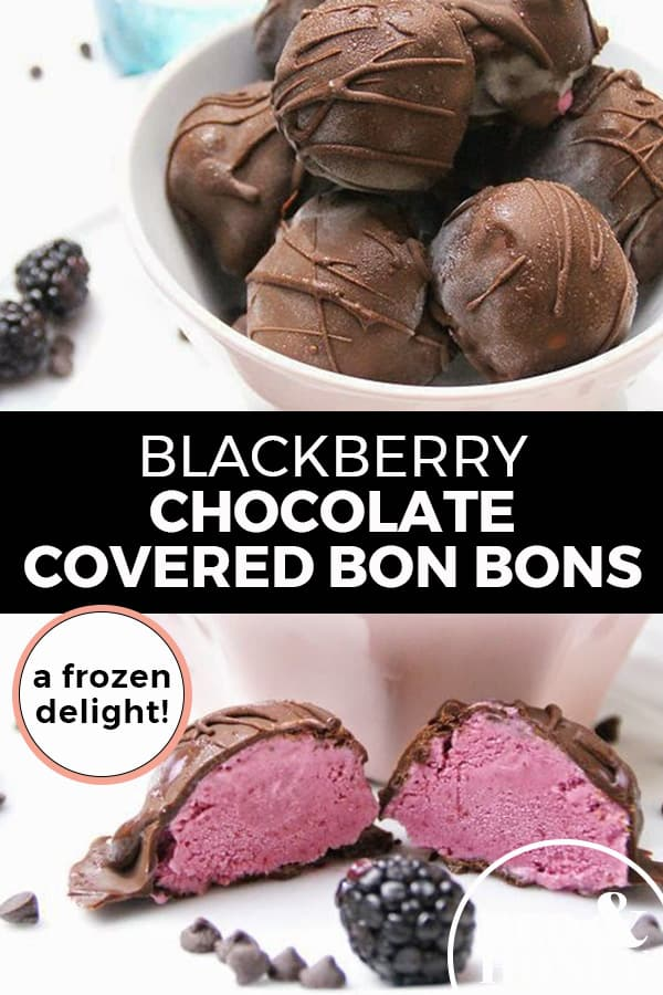 "Pinterest pin with two images. Top image is of a white bowl filled with chocolate covered bon bons. Bottom image is of a blackberry ice cream bon bon cut in half. Text overlay says, ""Blackberry Chocolate Covered Bon Bons: A Frozen Delight!"""