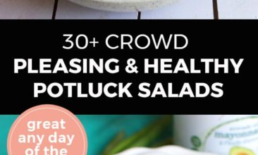 """Longer Pinterest pin with two images. Top image is of a white bowl filled with a garden salad. Bottom image is of a white plate filled with a cobb salad. Text overlay says, """"30+ Crowd Pleasing Healthy Potluck Salads: Great any day of the week!"""""""
