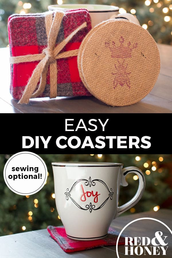 "Pinterest pin with two images. Top image is of a homemade coaster and gift wrapped coasters. Bottom image is of a mug sitting on a homemade coaster. Text overlay says, ""Easy DIY Coasters: sewing optional!"""
