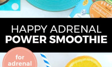 """Longer Pinterest pin with two images. Top image is of a smoothie on a fun blue plate with sliced oranges beside it. Bottom image is a side angle of a smoothie with sliced oranges. Text overlay says, """"Happy Adrenal Power Smoothie: for adrenal health!"""""""