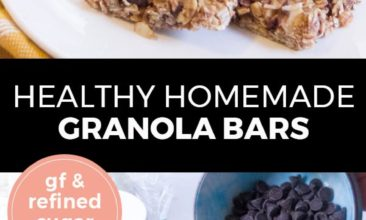 """Longer Pinterest pin with two images. Top image is a white plate with two granola bars on it. Bottom image is of a mixing bowl filled with ingredients for granola bars. Text overlay says, """"Healthy Homemade Granola Bars: GF & refined sugar free!"""""""