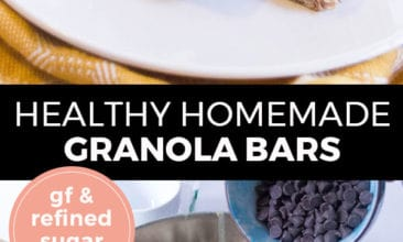 """Pinterest pin with two images. Top image is a white plate with two granola bars on it. Bottom image is of a mixing bowl filled with ingredients for granola bars. Text overlay says, """"Healthy Homemade Granola Bars: GF & refined sugar free!"""""""